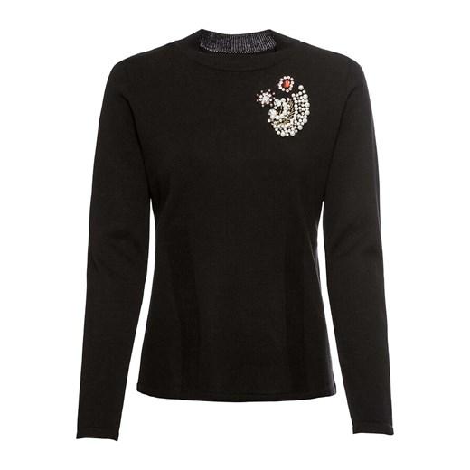 Sweter damski czarny Bonprix z okrągłym dekoltem Odzież Damska YN czarny SBSZ