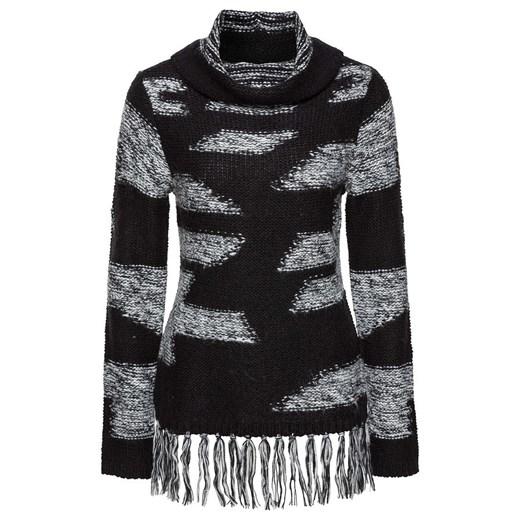 Sweter z frędzlami Bonprix Bodyflirt Boutique Odzież Damska ZS granatowy JMUI