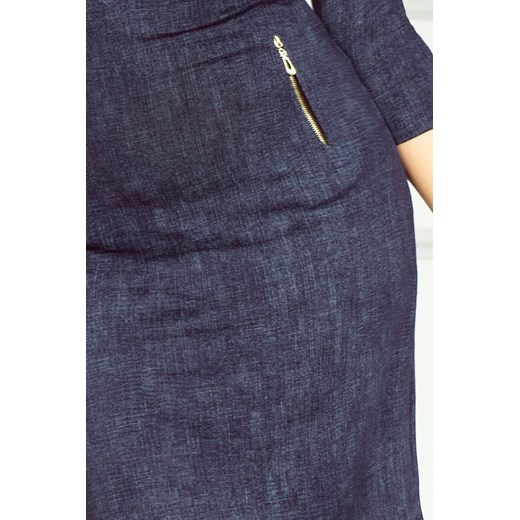 Sukienka Numoco z dekoltem w łódkę ołówkowa z długim rękawem mini Odzież Damska RI granatowy IDHR