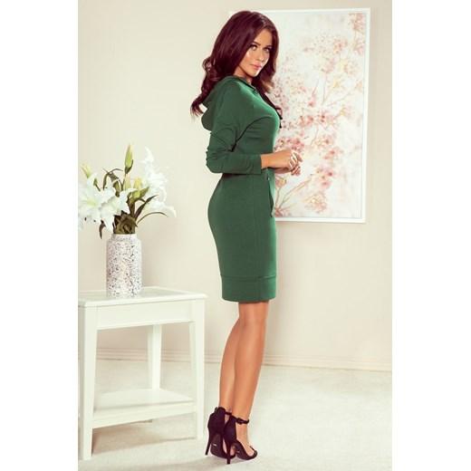 Numoco sukienka mini zielona z długim rękawem Odzież Damska LA zielony FMCY