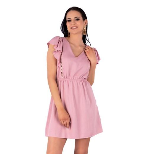 Sukienka Merribel z dekoltem w serek Odzież Damska GW różowy QXTS