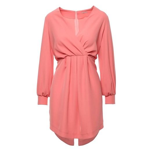 Sukienka Makover z długim rękawem mini z dekoltem v bez wzorów Odzież Damska YD różowy NJTX