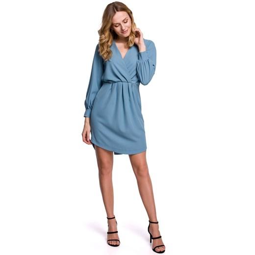 Sukienka Makover mini Odzież Damska VD niebieski XHAZ