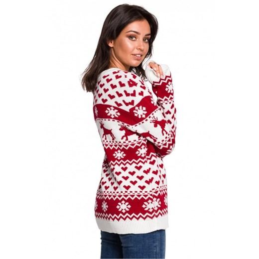 Sweter damski Be Knit z okrągłym dekoltem Odzież Damska NY wielokolorowy OVMU