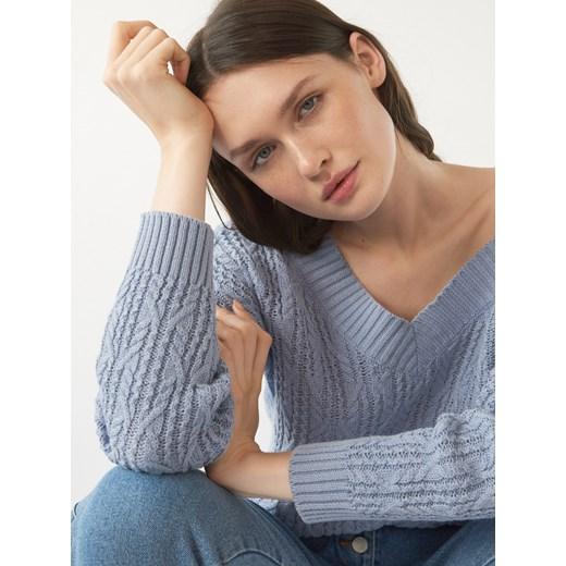 Sweter damski Mohito z dekoltem w serek Odzież Damska WJ niebieski VYSI