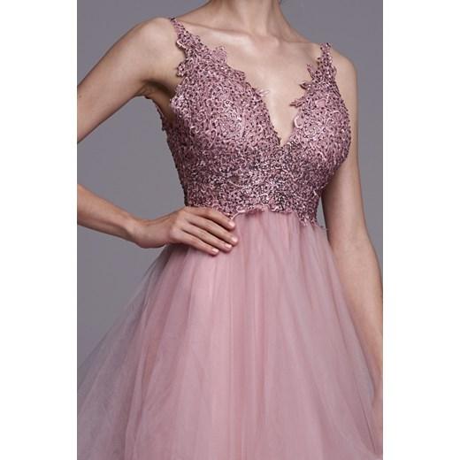 Sukienka Ella Boutique różowa na karnawał w serek z kryształkiem Odzież Damska WM różowy FWAV
