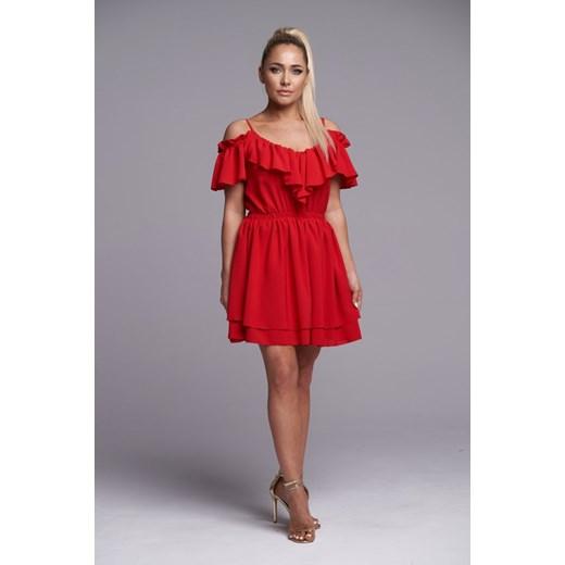 Sukienka na uczelnię z krótkimi rękawami Odzież Damska JK czerwony CHRE