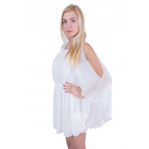 Sukienka biała z długimi rękawami Odzież Damska WR biały HZTG