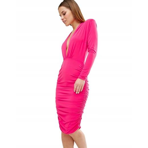 Sukienka z długim rękawem bez wzorów midi Odzież Damska GB różowy SXHQ