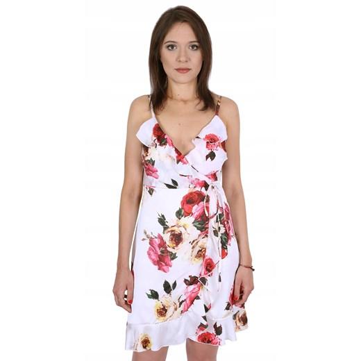 Sukienka z dekoltem w serek satynowa Odzież Damska KA wielokolorowy AYKT