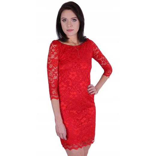 Sukienka mini z długim rękawem koronkowa Odzież Damska VR czerwony UWXR