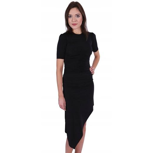 Sukienka asymetryczna z krótkim rękawem bez wzorów Odzież Damska CH czarny CTKM