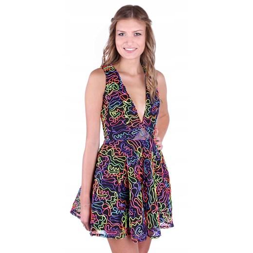Sukienka z dekoltem w serek mini na lato Odzież Damska ZT wielokolorowy IIUG