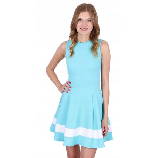 Sukienka bez rękawów turkusowa mini Odzież Damska JO turkusowy DDUU
