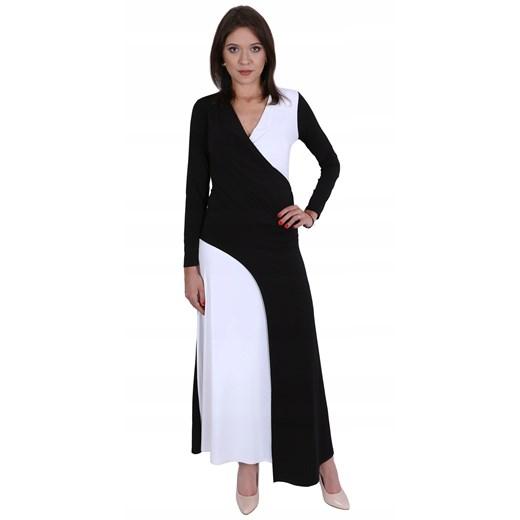 Sukienka z dekoltem w literę v maxi z długim rękawem Odzież Damska DT czarny HTLZ