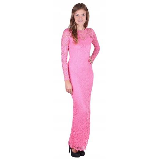 Sukienka z długim rękawem maxi Odzież Damska OI różowy ONHE