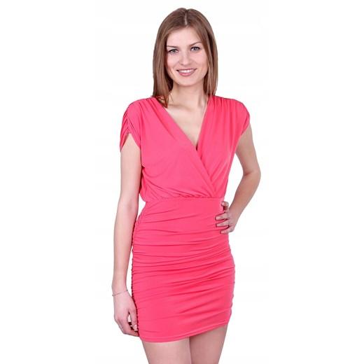 Sukienka z krótkimi rękawami z dekoltem v bez wzorów Odzież Damska BS różowy SJOH