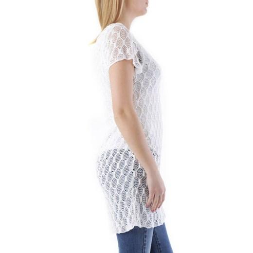 Sweter damski Cristina Gavioli z okrągłym dekoltem z elastanu Odzież Damska ZJ biały JJJJ