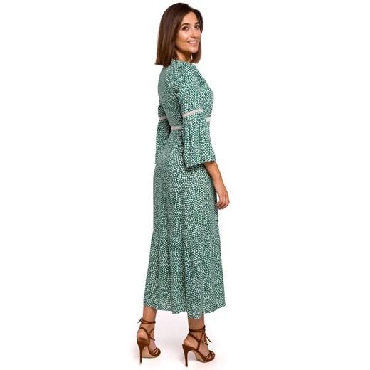 Sukienka Style maxi z długim rękawem Odzież Damska OR zielony ISQO