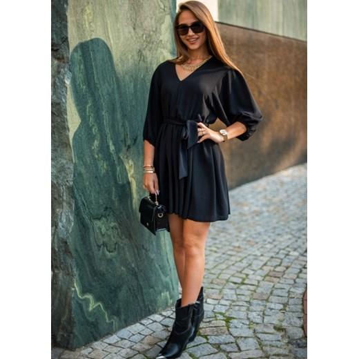Sukienka Fason z długim rękawem mini Odzież Damska JD czarny TYUN