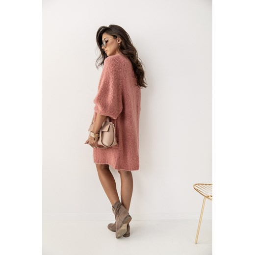 Sweter damski Gg Luxe z dekoltem w serek z moheru Odzież Damska OI różowy HKLT