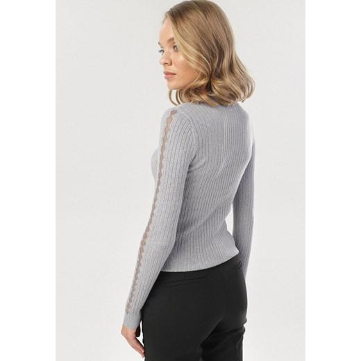 Sweter damski Born2be zimowy Odzież Damska SY szary UGKU