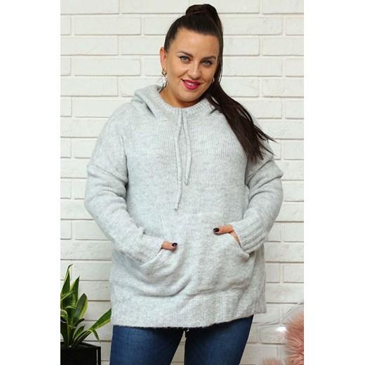 Sweter damski z kapturem Odzież Damska QW FMKS