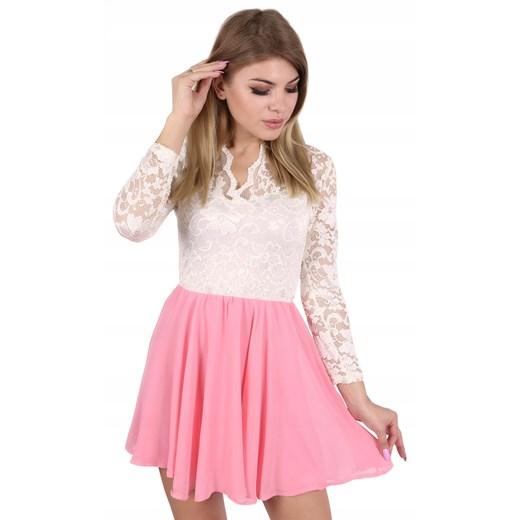 John Zack kremowo-różowa sukienka mini Oficjalny sklep Allegro Odzież Damska FE różowy ISNF