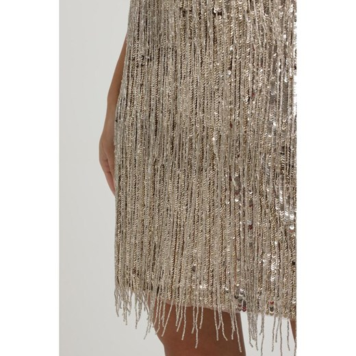 SHORT DRESS WITH FRINGES CLOSING ZIP Elisabetta Franchi showroom Odzież Damska VC szary NVOI