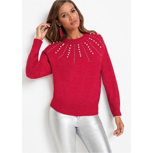 Sweter damski Bonprix z okrągłym dekoltem Odzież Damska IY QXMN