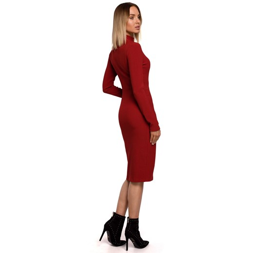 Sukienka Moe dopasowana midi bez wzorów Odzież Damska EK czerwony IZWG