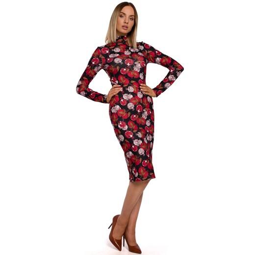 Sukienka Moe midi dopasowana z długim rękawem Odzież Damska RR wielokolorowy QUON