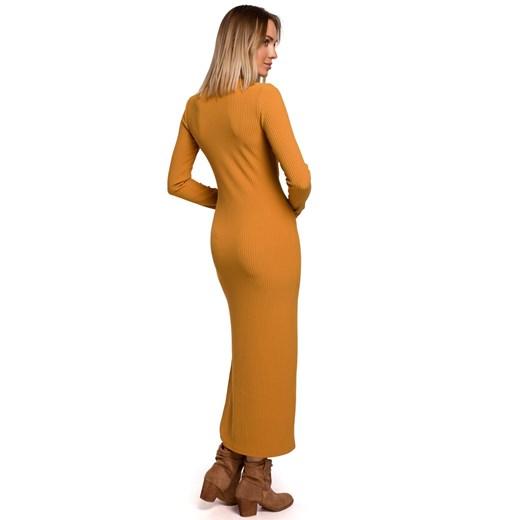 Sukienka Moe gładka Odzież Damska QG brązowy EJDI