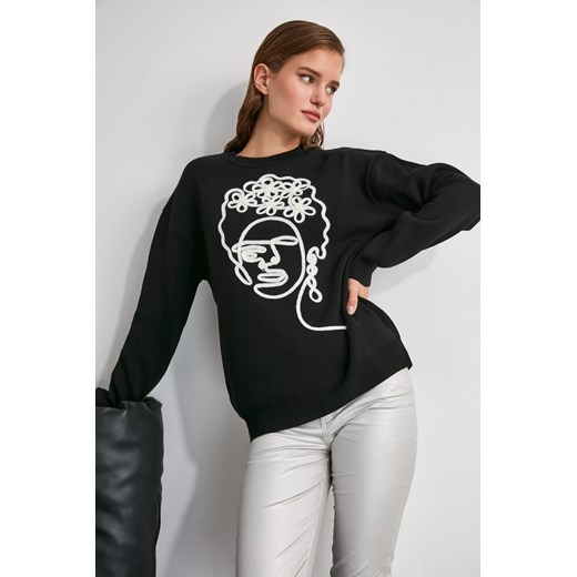 Sweter damski Trendyol z okrągłym dekoltem Odzież Damska ZI czarny GBIP