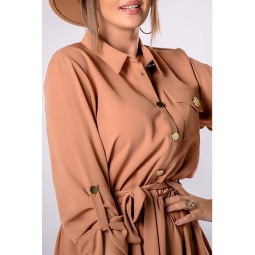 Sukienka z długimi rękawami szmizjerka Odzież Damska VV beżowy LIMQ