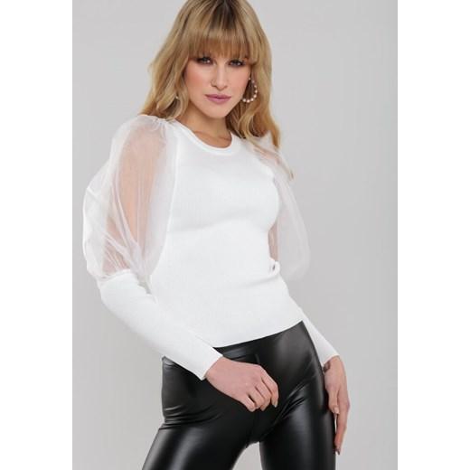 Sweter damski Renee z okrągłym dekoltem Odzież Damska NG biały DERG