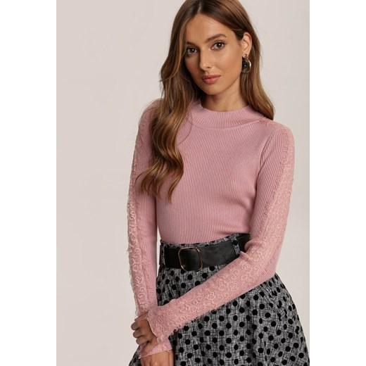 Sweter damski Renee casual Odzież Damska ZZ różowy SMDI