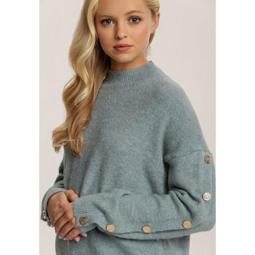 Sweter damski Renee casualowy Odzież Damska SZ niebieski AZOO