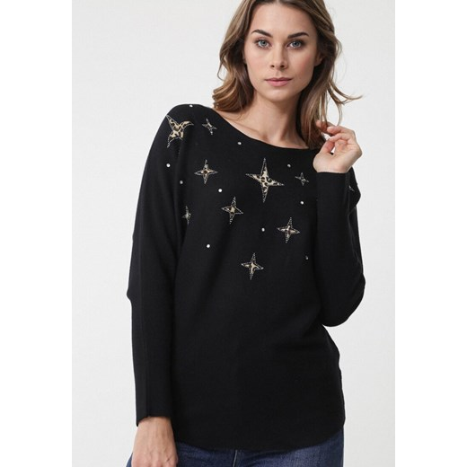 Sweter damski Born2be z okrągłym dekoltem Odzież Damska IH czarny SIZX