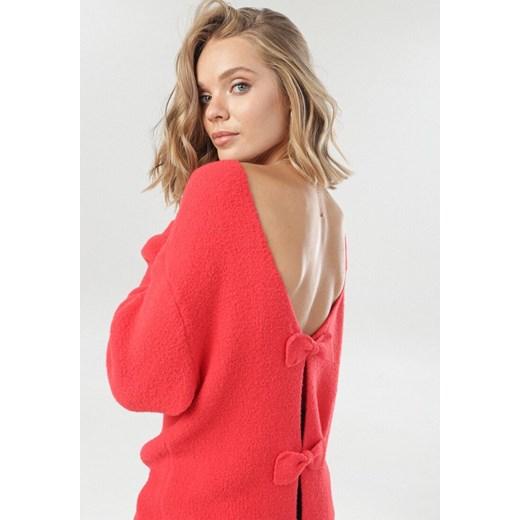 Sweter damski Born2be gładki/gładka Odzież Damska QK czerwony OLBL