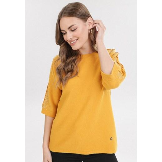 Sweter damski Born2be z okrągłym dekoltem casualowy Odzież Damska LQ żółty VUDB