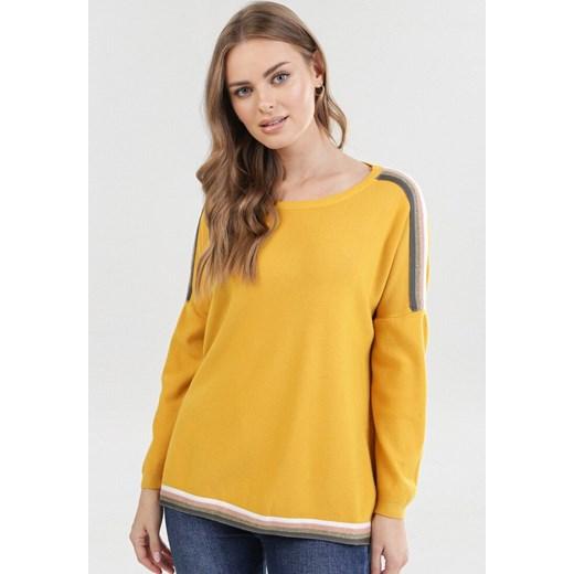 Sweter damski Born2be z okrągłym dekoltem Odzież Damska ZH żółty WMGK
