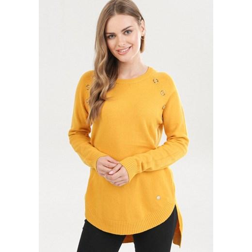 Sweter damski Born2be z okrągłym dekoltem Odzież Damska PZ żółty XQHW