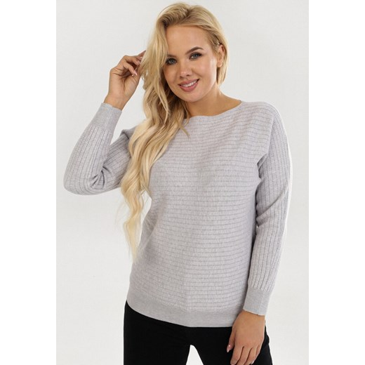 Szary sweter damski Born2be z okrągłym dekoltem casual Odzież Damska UP szary RHCJ