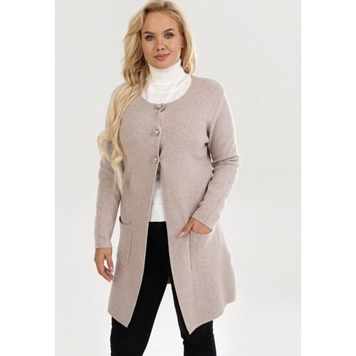 Sweter damski Born2be z okrągłym dekoltem bez wzorów Odzież Damska LC zielony LCKN