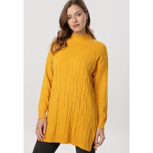 Sweter damski Born2be bez wzorów Odzież Damska IC żółty JUSW