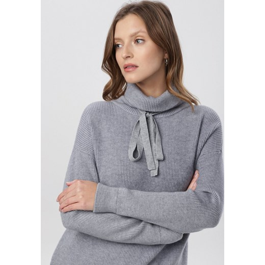 Sweter damski Born2be Odzież Damska QA szary CFMW