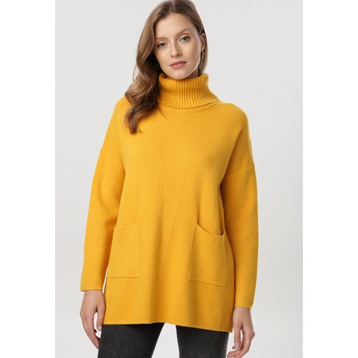 Born2be sweter damski żółty casualowy gładki Odzież Damska OR żółty CCXM