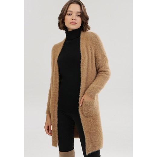 Sweter damski Born2be bez wzorów Odzież Damska YT brązowy HLGB