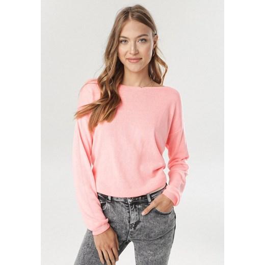 Sweter damski Born2be z okrągłym dekoltem Odzież Damska TG różowy PDFF